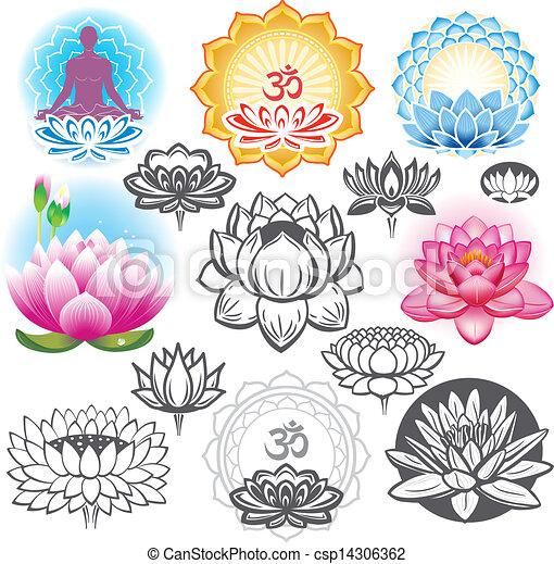 symboler, lotusar, sätta, esoterisk - csp14306362
