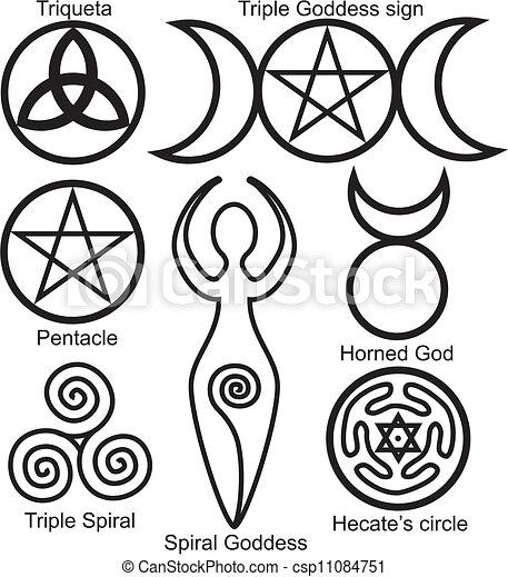 symboler, wiccan, sätta - csp11084751