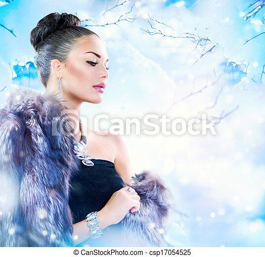 täcka, kvinna, pälsfodra, vinter, lyxvara - csp17054525