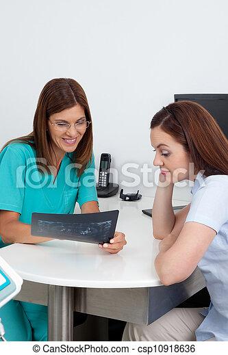 tålmodig, dental, tandläkare, rapport, visande, röntga - csp10918636