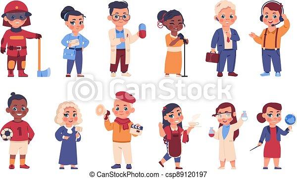 tecken, brandman, glad, ung, ha på sig, val, kostymen, vektor, olik, lurar, uniform., kostymer, occupations., läkare, domare, eller, brevbärare, sätta, tecknad film, barn, profession. - csp89120197