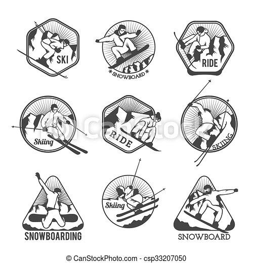 tillflykt, vektor, elementara, logo, märken, etiketter, symboler, skida - csp33207050