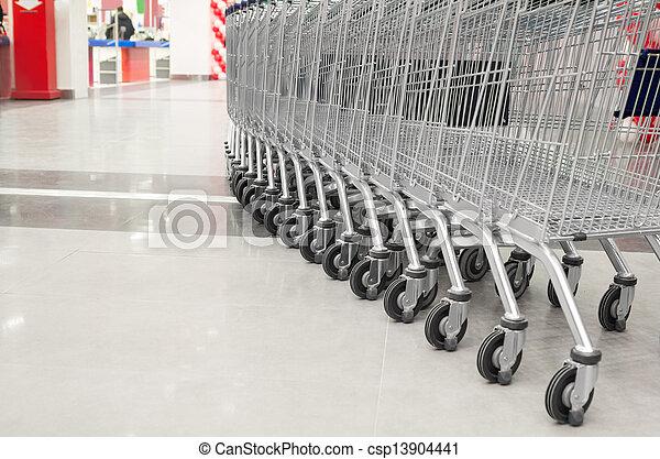 tom, supermarket, kärra, rad - csp13904441