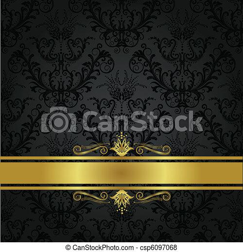 träkol, bokpärm, lyxvara, guld - csp6097068