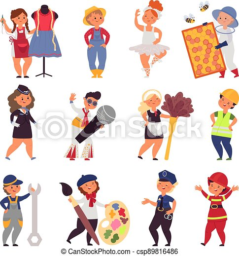 uniform., vektor, dräkt, ockupationerna, tecken, barn, lurar, tecknad film, bonde, söt, olik, arbete, anständig, professionell, sångare, teens. - csp89816486