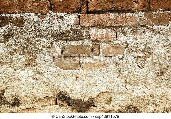 vägg, bakgrund., tegelsten, gammal, struktur - csp48911579