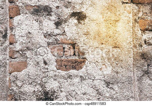 vägg, bakgrund., tegelsten, gammal, struktur - csp48911583