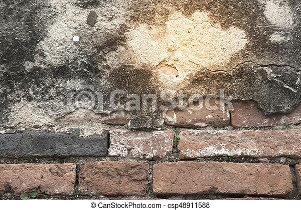 vägg, bakgrund., tegelsten, gammal, struktur - csp48911588