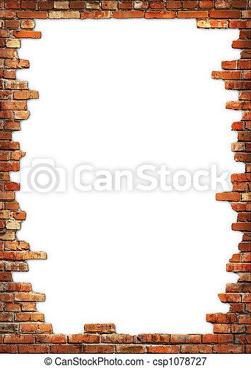 vägg, grungy, tegelsten, ram - csp1078727