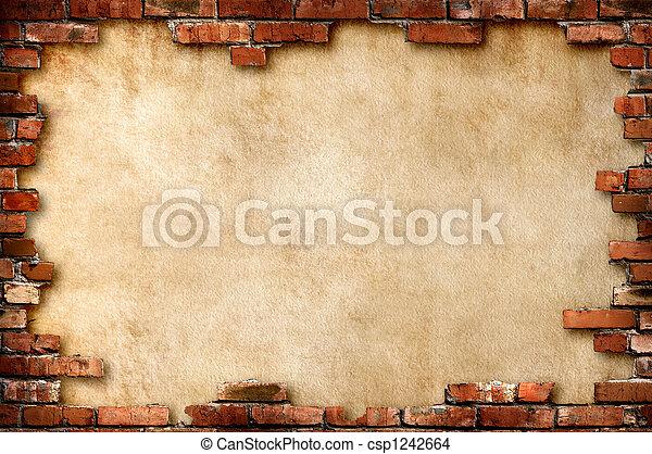 vägg, grungy, tegelsten, ram - csp1242664