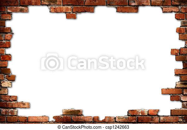 vägg, grungy, tegelsten, ram - csp1242663
