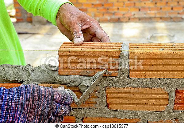 vägg, mortel, skapa, arbetare, murslev, cement, tegelsten - csp13615377