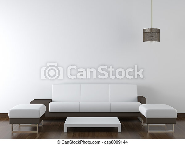 vägg, nymodig, design, inre, vit, möblemang - csp6009144