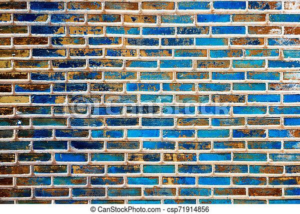 vägg, tegelsten, gammal, struktur, bakgrund - csp71914856