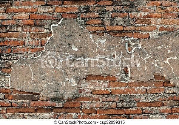 vägg, tegelsten, gammal, texture. - csp32039315