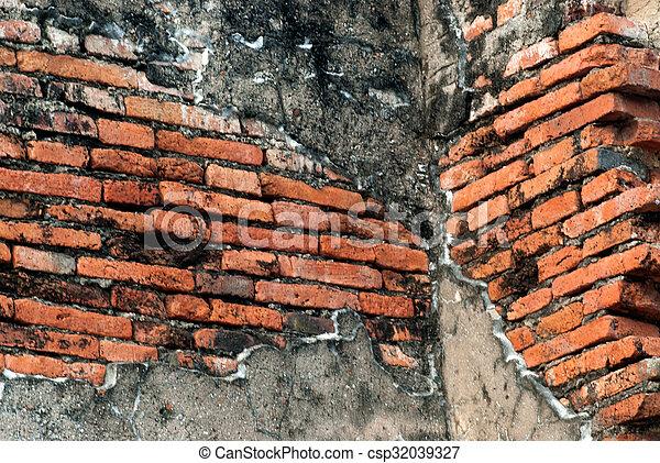 vägg, tegelsten, gammal, texture. - csp32039327