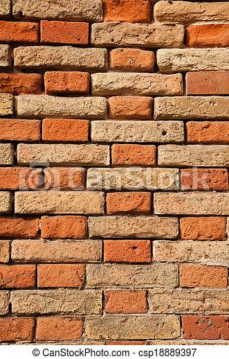 vägg, tegelsten - csp18889397