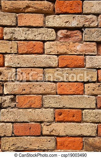 vägg, tegelsten - csp19003490