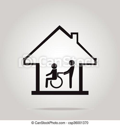 vårdhem, omsorg, underteckna, handikappad, ikon - csp36001370