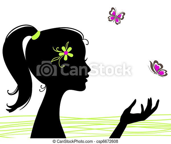 vacker, fjäril, flicka, silhuett - csp6672608
