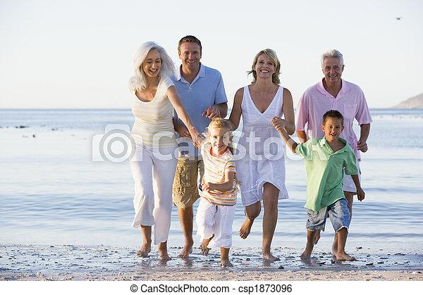 vandrande, vidgad, strand, familj - csp1873096