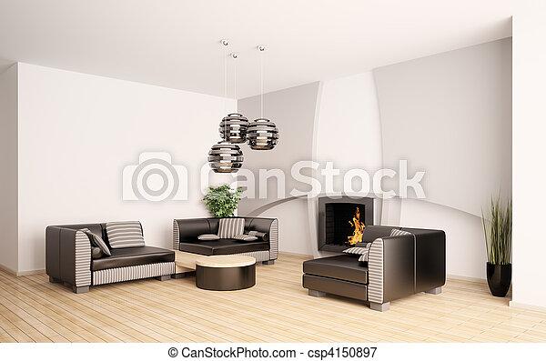 vardagsrum, nymodig, inre, eldstad, 3 - csp4150897