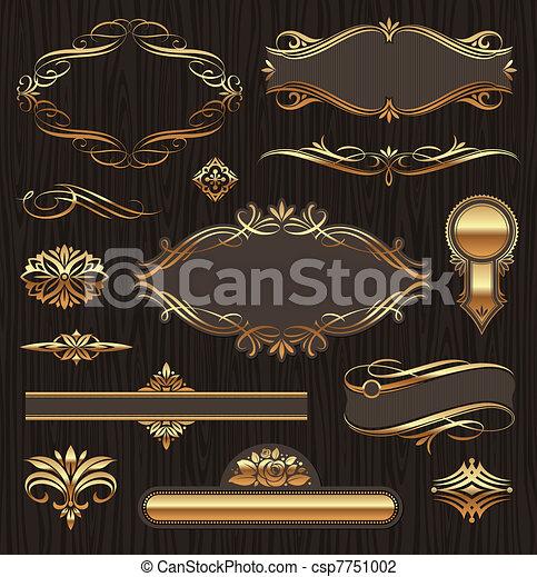 vektor, gyllene, utsirad, sida banér, bakgrund, sätta, mörk, inramar, mönster, ved, deviders, dekor, agremanger, elements: - csp7751002