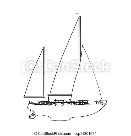 vektor, yacht, illustration. - csp11301674