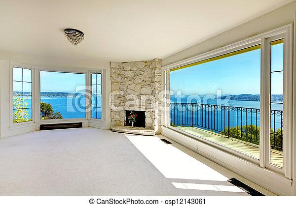 verkligt gods, vatten, lyxvara, sovrum, fireplace., synhåll - csp12143061
