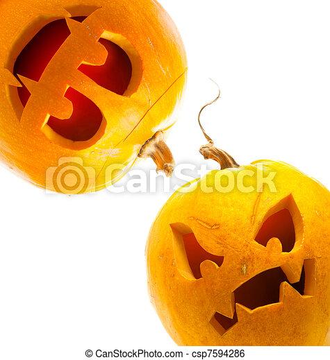 vit, halloween, isolerat, bakgrund, pumpa - csp7594286