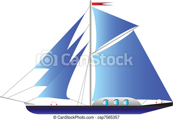 vit, yacht, isolerat - csp7565357